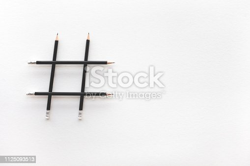 istock Social media and creativity concepts with Hashtag sign made of pencil.digital marketing images 1125093513