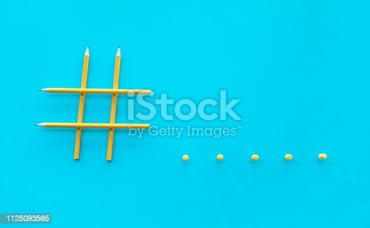 1125093513 istock photo Social media and creativity concepts with Hashtag sign made of pencil.digital marketing images 1125093565