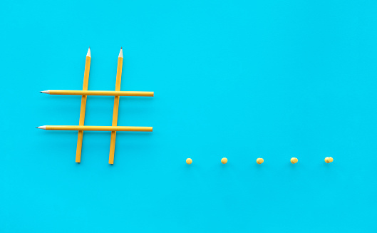 1125605742 istock photo Social media and creativity concepts with Hashtag sign made of pencil.digital marketing images 1125093565