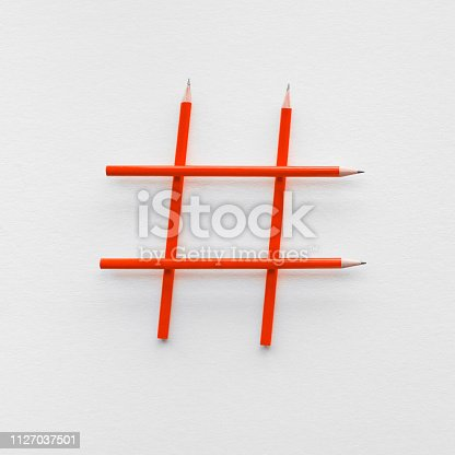 1125093513 istock photo Social media and creativity concepts with Hashtag sign made of pencil.digital marketing images 1127037501
