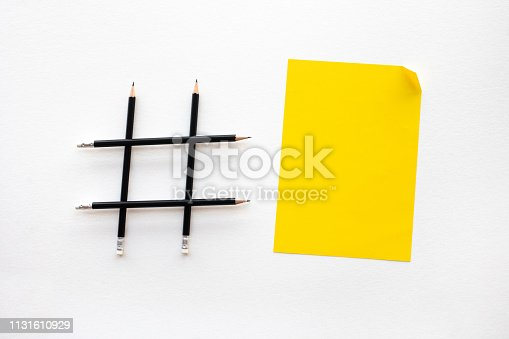 istock Social media and creativity concepts with Hashtag sign made of pencil.digital marketing images 1131610929