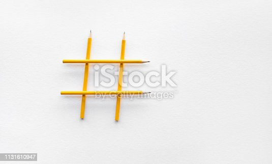 istock Social media and creativity concepts with Hashtag sign made of pencil.digital marketing images 1131610947