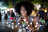 istock Social media and digital online concept, woman using smartphone 1288271580