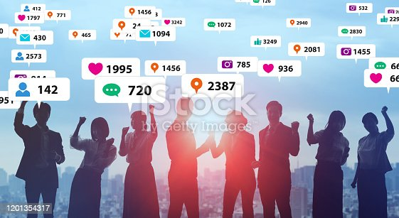 istock Social media and notificaition icons. Social networking service. 1201354317