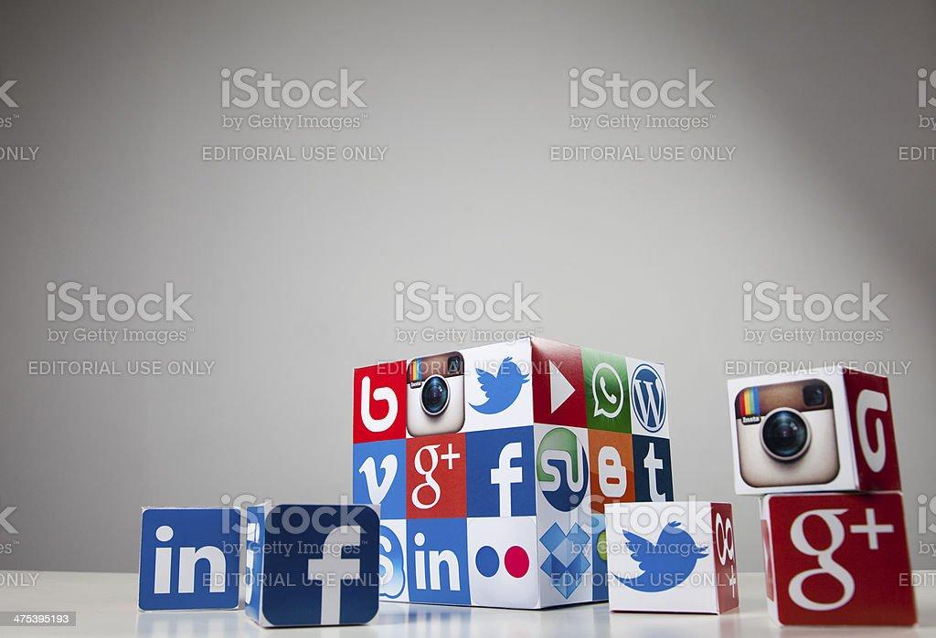 Social media and technology cube royalty-free stock photo