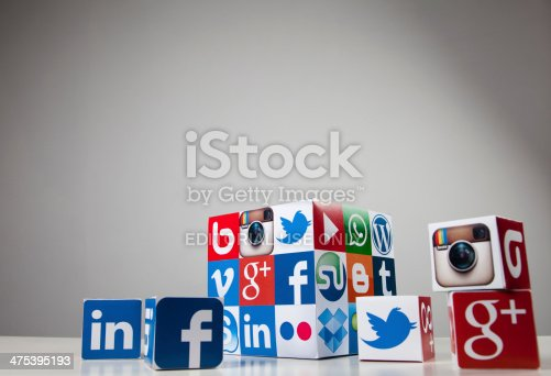 London, United KIngdom- February 20, 2014: Social media and technology logos printed onto handmade cube. Logos include Facebook, linkedin, twitter. Social media uses web and mobile technology to connect people
