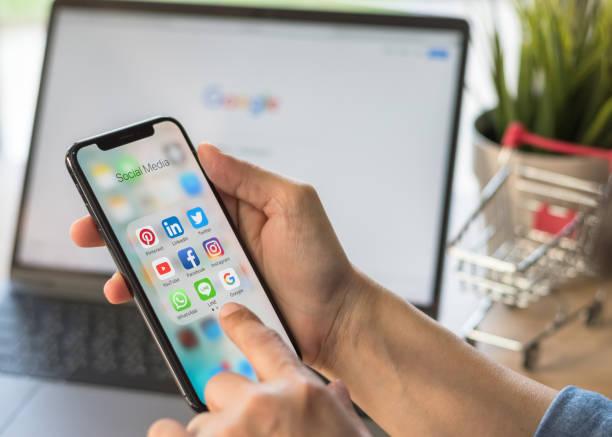 Social media app for digital marketing e-commerce on smartphone  mobile online applicatiion via multi-channel, cross-channel internet technology stock photo