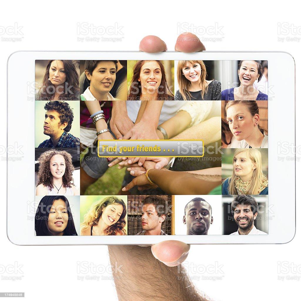 Social media app for digital tablet royalty-free stock photo