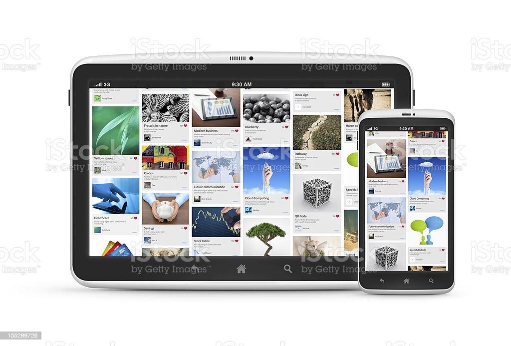 Social media application on digital devices stock photo