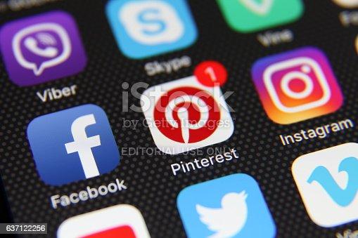 Berlin, Germany - May 21, 2016: Apple iPhone 6s screen with social media applications Facebook, Instagram, Google,  Youtube, Twitter, Vimeo, LinkedIn, Pinterest, Tumbl etc.