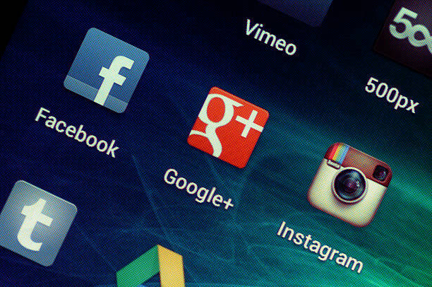 Social Media Applications on Google Samsung Galaxy Nexus stock photo