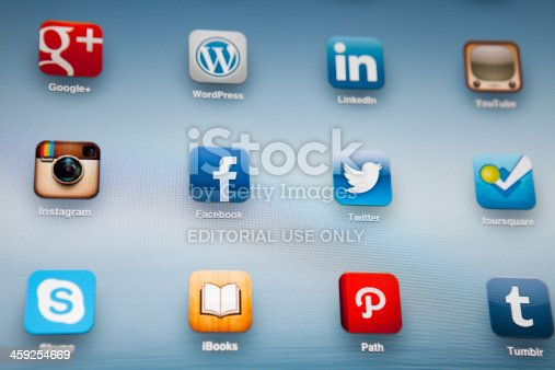 istock Social Media Applications on Ipad 459254669
