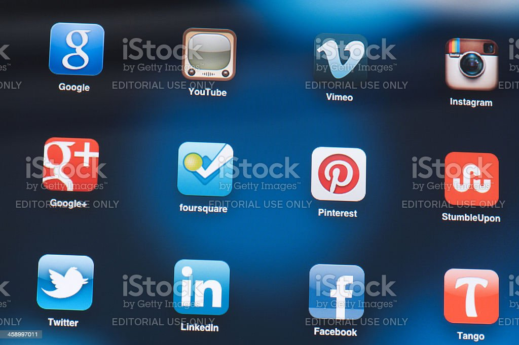 Social Media Applications on iPad screen royalty-free stock photo
