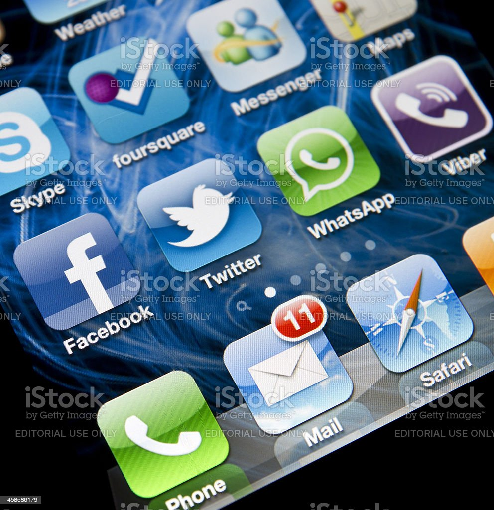 Social Media Applications on Iphone 4 royalty-free stock photo