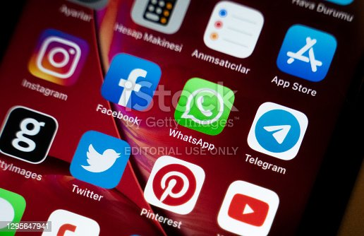 Antalya, Turkey - January 10, 2021: Social media apps like WhatsApp, Facebook, Twitter, Instagram and some other apps on the screen of an iPhone XR