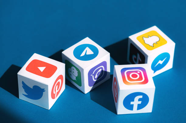 Social Media Apps Logotypes Printed on a Cubes stock photo