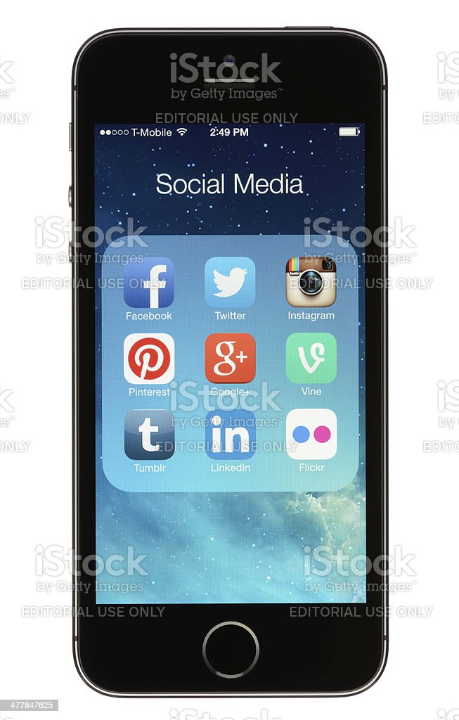 Social Media Apps on an iPhone 5s royalty-free stock photo