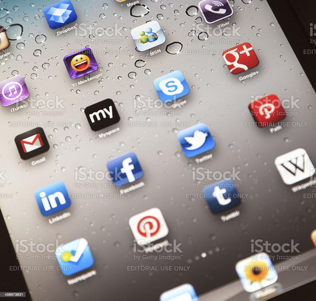 Social Media Apps on Apple iPad 2 royalty-free stock photo