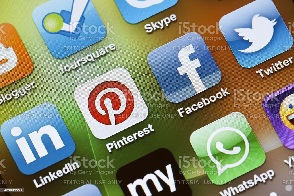 Social Media Apps on Apple iPhone 4 stock photo