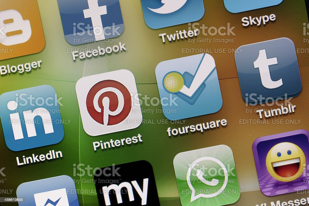 Social Media Apps on Apple iPhone 4 Screen royalty-free stock photo