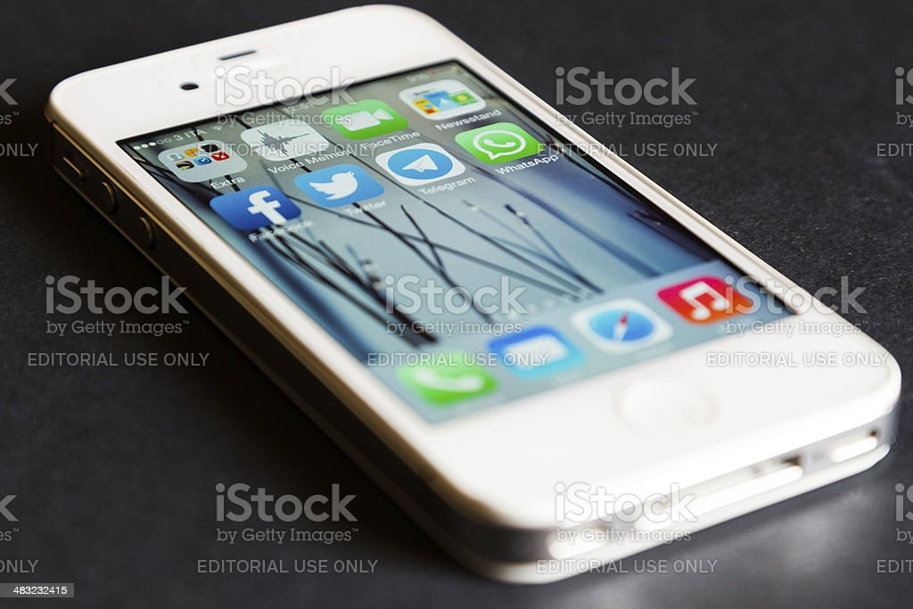 Social Media Apps on Apple iPhone 4s stock photo