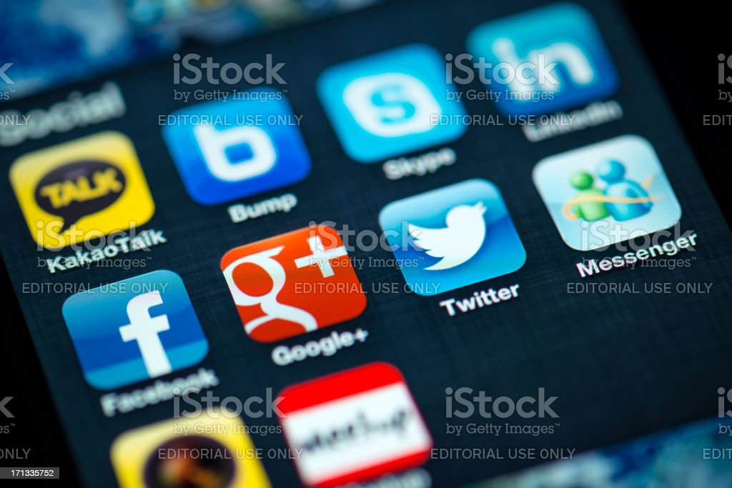 Social Media Apps on Apple iPhone 4s Screen royalty-free stock photo
