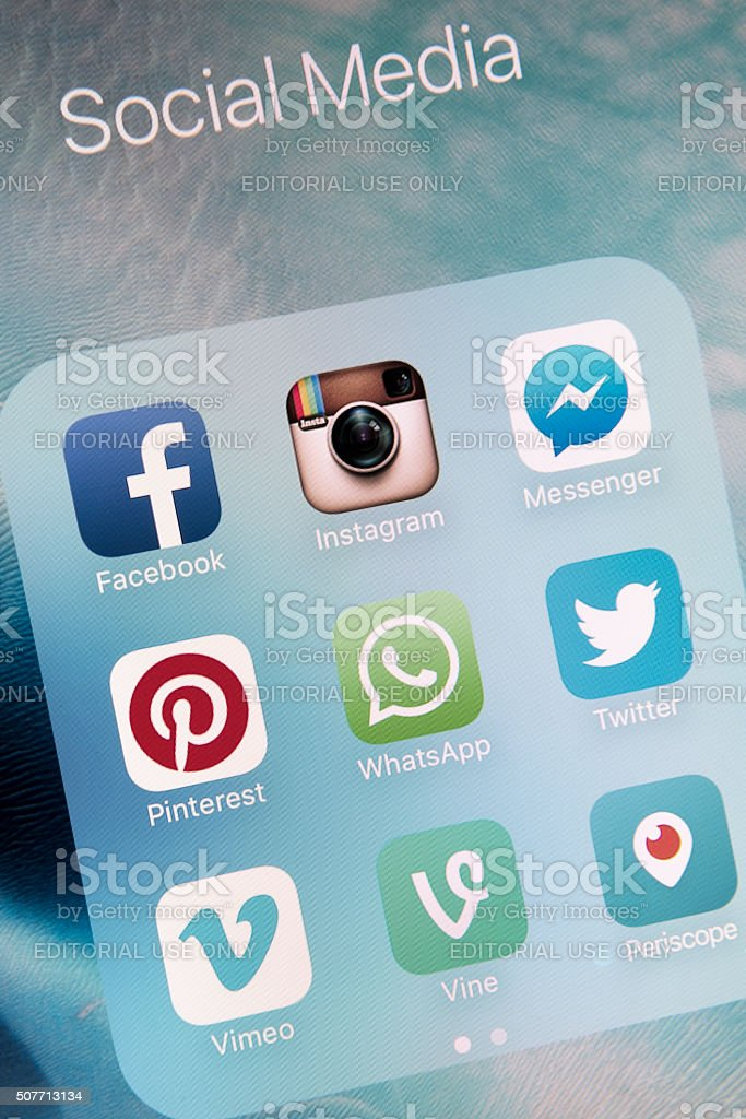 Social Media Apps on Apple iPhone 6s Plus Screen stock photo