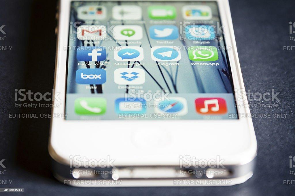 Social Media Apps on Apple iPhone stock photo