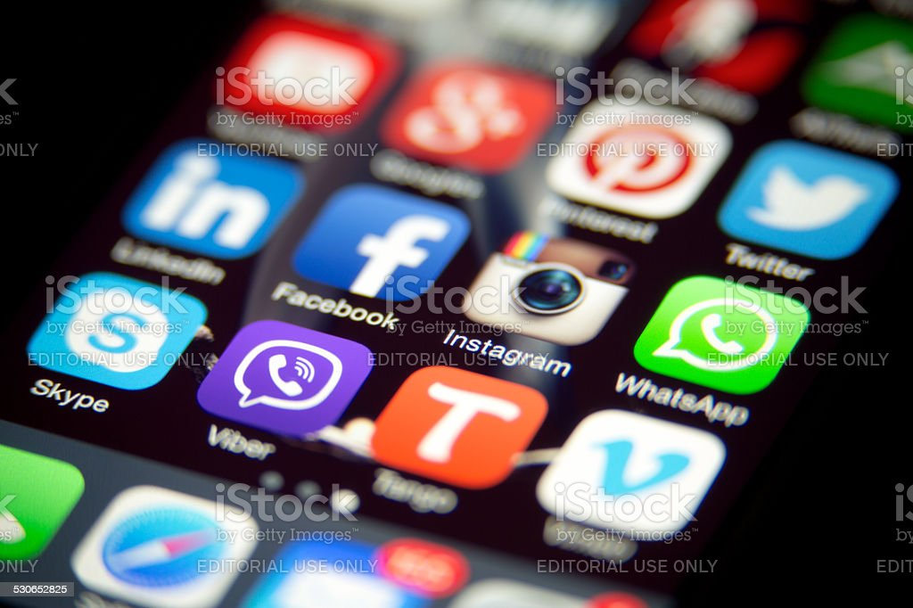 Social Media Apps on Apple iPhone stock photo