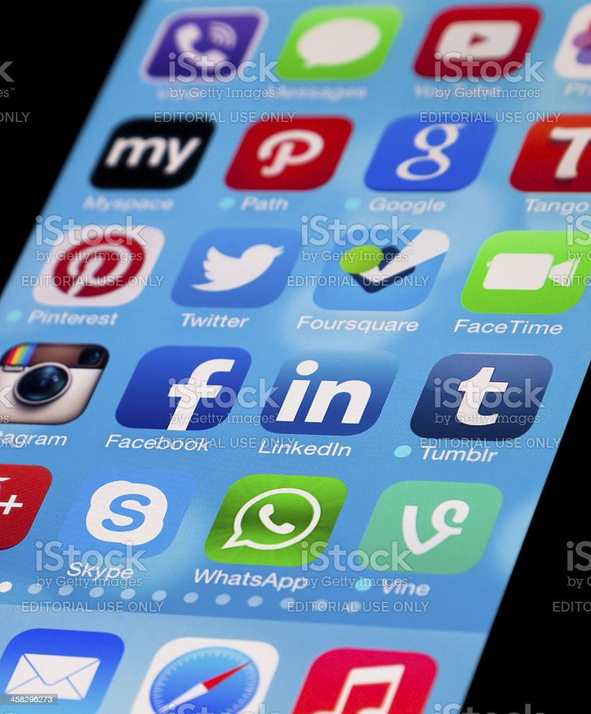 Social Media Apps on Apple New iPhone 5 stock photo