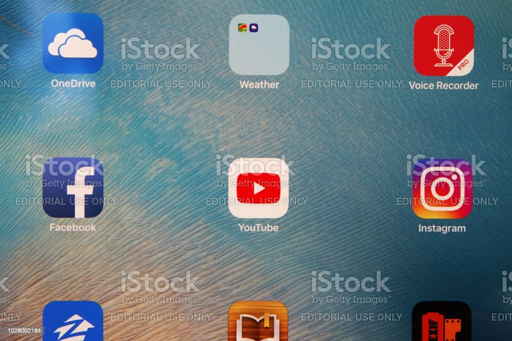 Social Media Apps On Ipad Screen Including Youtube Facebook
