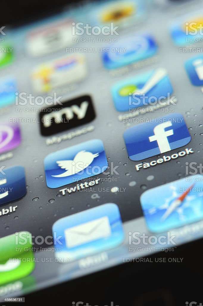 Social Media Apps on İphone 4 royalty-free stock photo