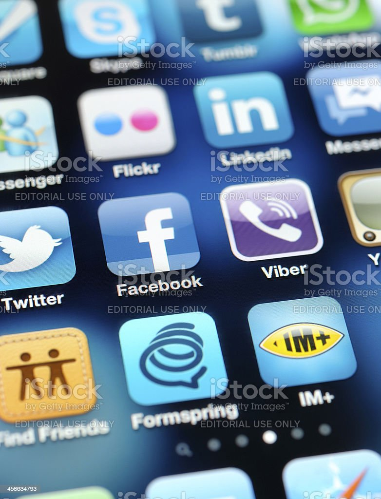 Social Media Apps on İphone royalty-free stock photo