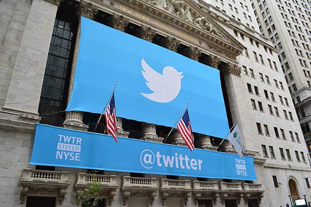Bannière de médias sociaux sur la bourse de New York - Photo