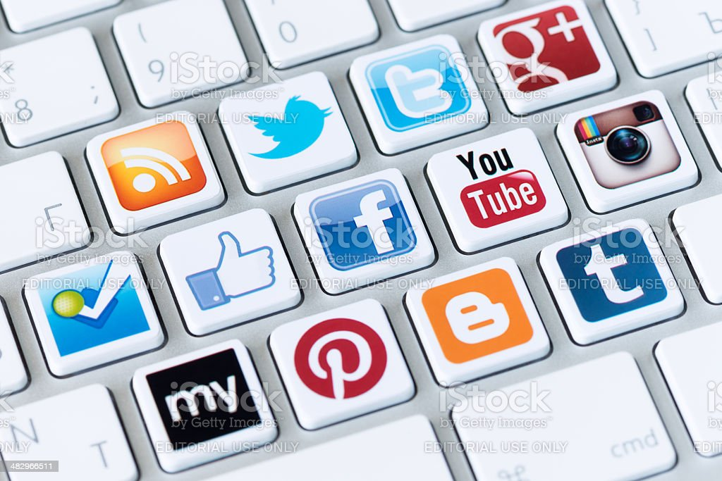 Social media buttons on a computer keyboard royalty-free stock photo