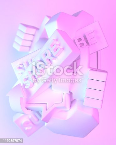 istock Social media call to action objects. Like, comment, subscribe, share. White with blue and pink gradient shadows. 1170357974