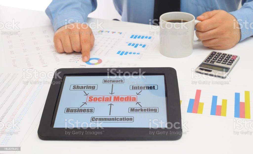 Social Media chart on tablet pc royalty-free stock photo