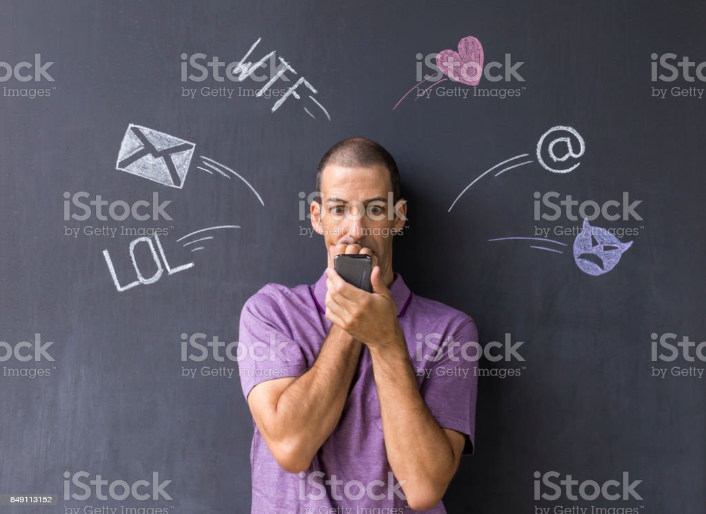 Social media chat with icons and symbols stock photo