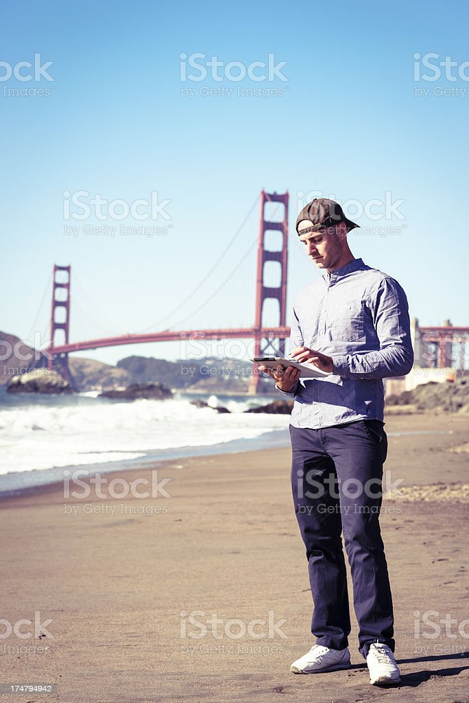 Social media chatting under San Francisco golden gate royalty-free stock photo