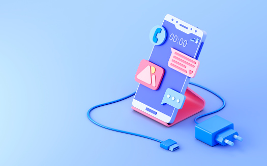 Smartphone, charging and copy space. 3d illustration