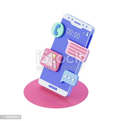 Chat messages notification on smartphone. 3d illustration