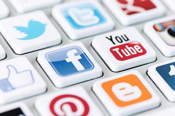 Social media communication stock photo
