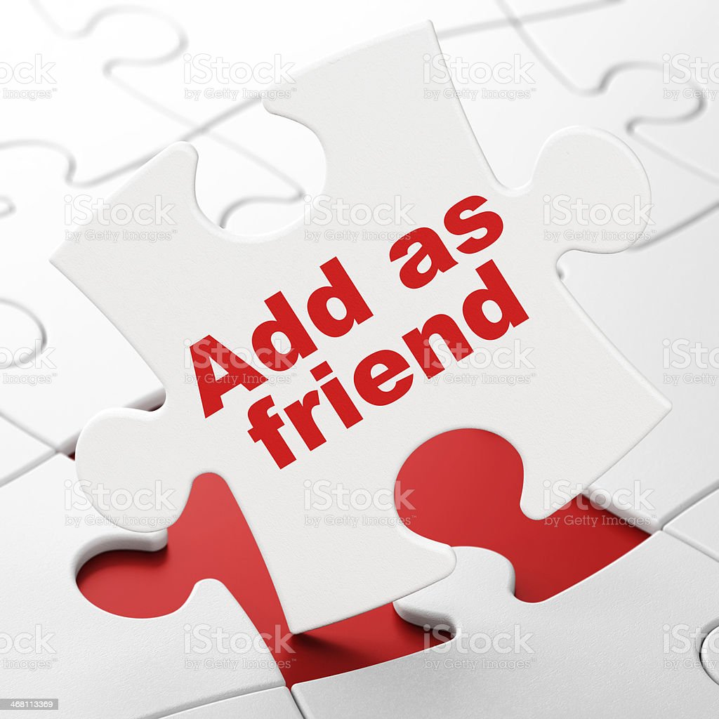Social Media Concept Add As Friend On Puzzle Background