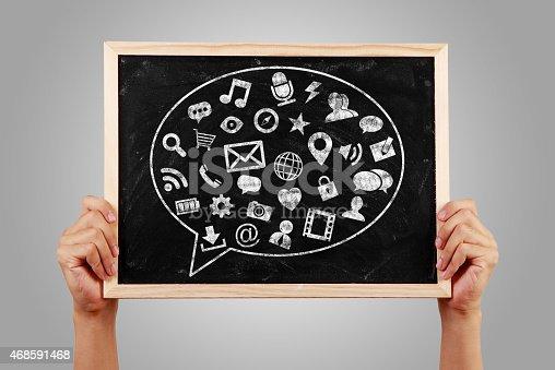 istock Social Media Concept Blackboard With Hands 468591468