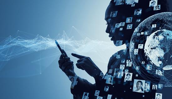 istock Social media concept. Communication network. 1154261491