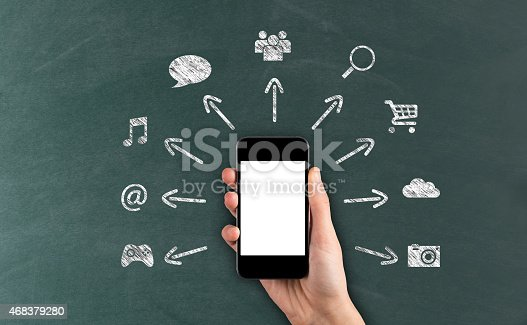 474953508 istock photo Social Media Concept on Blackboard with Smart Phone 468379280