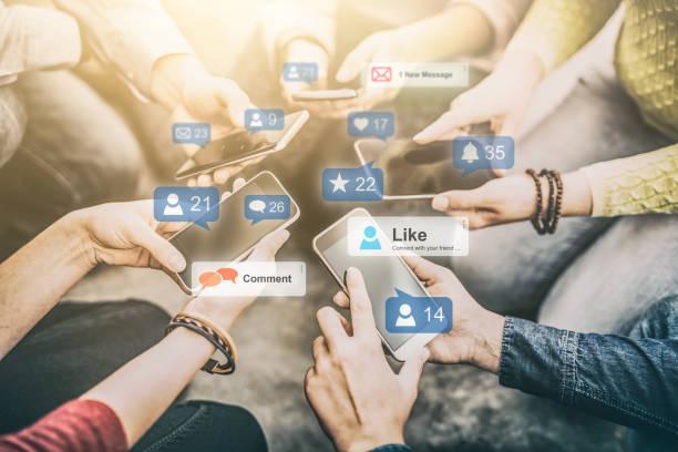 social-media-konzept. - scyther5 stock-fotos und bilder