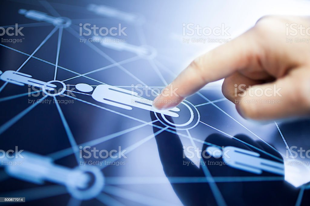 Social media concept Social media interface and human finger Accessibility Stock Photo