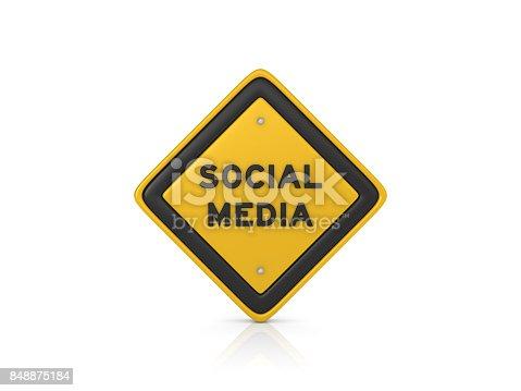Social Media Concept Road Sign - White Background - 3D Rendering
