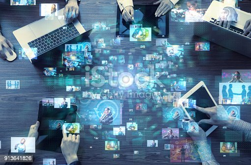 Social media concept. Social networking service. Video hosting website. Streaming video.